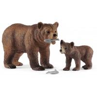 Комплект фигурки Schleich Wild Life - Майка мечка гризли с малко