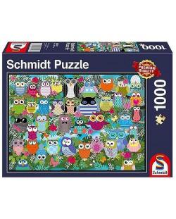 Пъзел Schmidt от 1000 части - Колаж с бухали