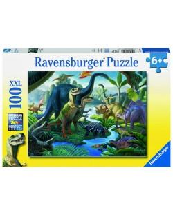 Пъзел Ravensburger от 100 XXL части - Земя на динозаври