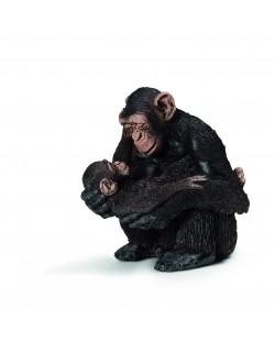 Фигурка Schleich от серията Дивия живот - Африка: Шимпанзе, женско с малко
