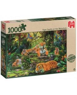 Пъзел Jumbo от 1000 части - Семейство тигри под водопада