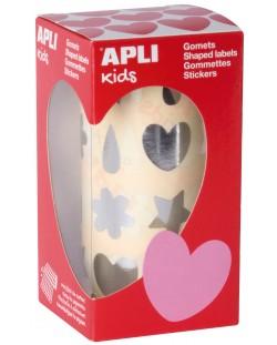 Стикери на ролка APLI - Сребристи сърца, цветя, капки, звезди