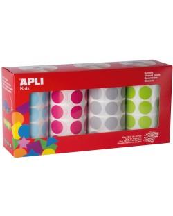 Стикери на ролка APLI - Кръгчета Ø20 cm, 4 цвята