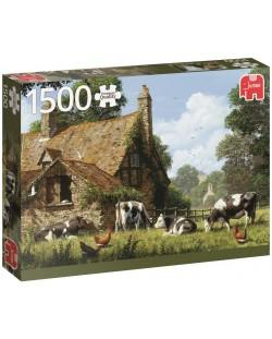 Пъзел Jumbo от 1500 части - Крави във фермата