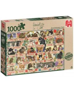 Пъзел Jumbo от 1000 части - Годишнина на котките на Франсин