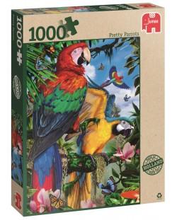 Пъзел Jumbo от 1000 части - Впечатляващи папагали