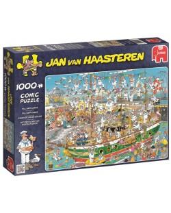 Пъзел Jumbo от 1000 части - Хаос на пристанището, Ян ван Хаастерен