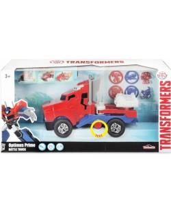 Детска играчка Smoby - Камион за битка Оптимус Прайм, със звук и светлина