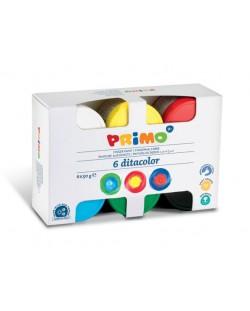 Бои за рисуване с пръсти Primo - 6 цвята, 50 ml