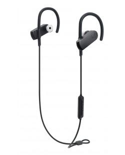 Слушалки с микрофон Audio-Technica - ATH-SPORT70BT, безжични, спортни, черни