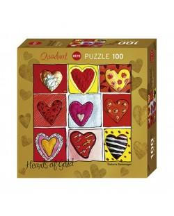 Мини пъзел Heye от 100 части - Hearts of Gold All The 9, Стефани Щайнмайер