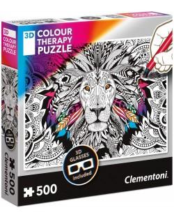 Пъзел за оцветяване Clementoni от 500 части - Лъв, с 3D очила