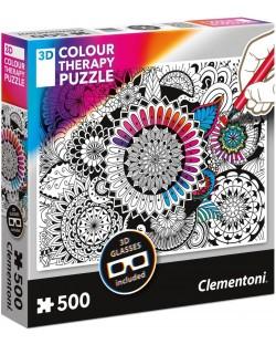 Пъзел за оцветяване Clementoni от 500 части - Мандала, с 3D очила