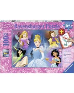 Пъзел Ravensburger от 100 XXL части - Очарователни принцеси, с книжка за оцветяване
