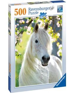Пъзел Ravensburger от 500 части - Бял кон през пролетта