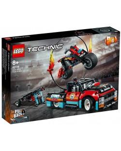 Конструктор Lego Technic - Камион и мотоциклет за каскади (42106)