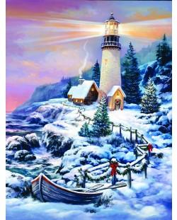 Пъзел SunsOut от 1000 части - Коледен фар, Сандра Бергерон