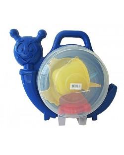 Комплект за игра в пясъка в куфарче-охлюв Dolu