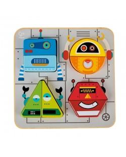 Дървена играчка Hape - Пъзел с роботи