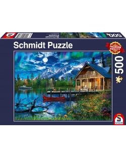 Пъзел Schmidt от 500 части - Планинското езеро на лунна светлина