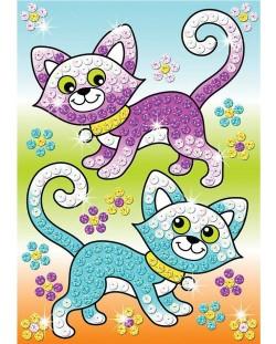 Творчески комплект KSG Crafts Sequin Art - Изкуство с пайети, Котки