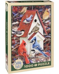 Пъзел Cobble Hill от 1000 части - Зимна къщичка за птици, Грег Джордано