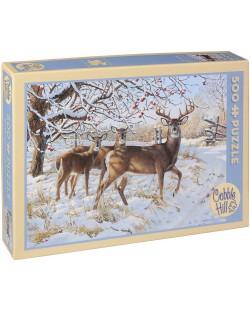 Пъзел Cobble Hill от 500 части - Зимен елен