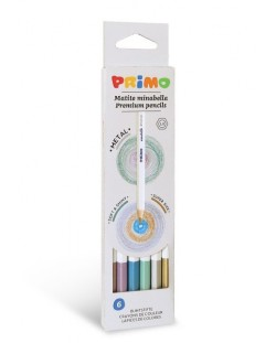 Комплект цветни моливи Primo Minabella Metal - Шестоъгълни, 6 цвята
