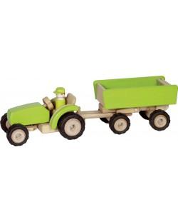Дървена играчка Goki - Строителна машина, трактор с ремарке
