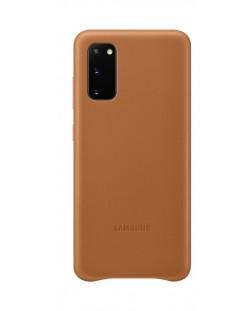 Кожен калъф Samsung - Leather, за Galaxy S20, кафяв