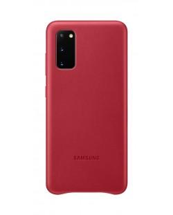 Кожен калъф Samsung - Leather, за Galaxy S20, червен
