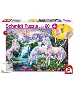 Пъзел Schmidt от 60 части - Величествени еднорози, с лента за коса
