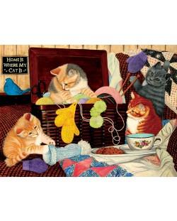 Пъзел SunsOut от 1000 части - Домът е там, където е котката ми, Джули Баукнехт