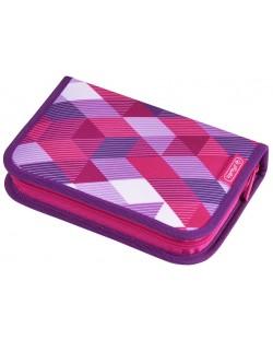 Несесер с две крила Herlitz - Pink Cubes, 31 части