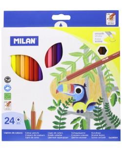 Комплект цветни моливи Milan - Шестоъгълни, 24 цвята