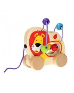 Дървена играчка за дърпане Jouéco - Лъвче, със спирала