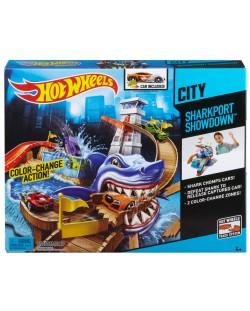 Комплект за игра Hot Wheels - Писта акула и колички с промяна на цвета