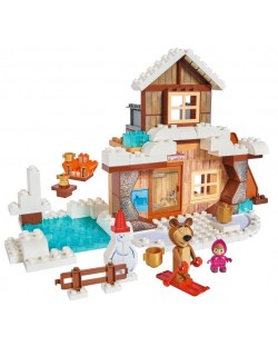 Конструктор BIG Маша и Мечока – Зимната къща на Мечока, 122 части