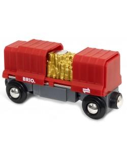 Играчка Brio World - Товарен вагон, със злато