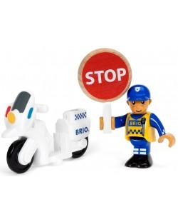 Играчка от дърво Brio World - Полицай с мотор