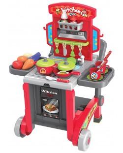 Детска кухня Buba Kitchen little Chef - Червена, 3 в 1
