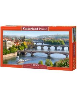 Панорамен пъзел Castorland от 4000 части - Мостовете във Валтава, Прага