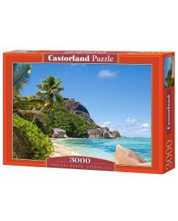 Пъзел Castorland от 3000 части - Тропически плаж, Сейшелите