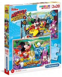 Пъзел Clementoni от 2 x 20 части - Мики и приятели състезатели
