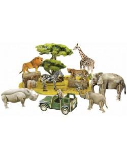 3D Пъзел Cubic Fun от 69 части - Дивият свят на Африка