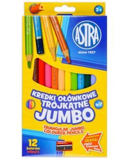 Триъгълни моливи Astra - Джъмбо, 12 цвята, с острилка