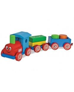 Дървена играчка Eichhorn - Влакче с очички