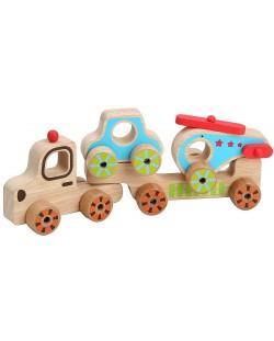 Дървен автовоз Lucy&Leo - С количка и хеликоптер