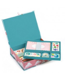 Творчески комплект Djeco - Charlotte, за картички, стикери и тетрадки
