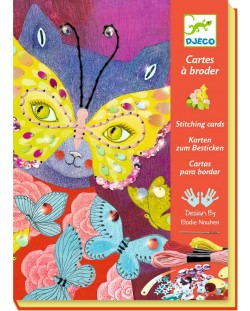 Детски комплект с 4 картини за бродиране Djeco - Карнавал